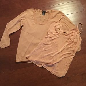 Theory pink shirt set